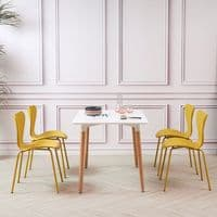 NAEL White Rectangular Dining Table - with Wooden Legs 120*80cm